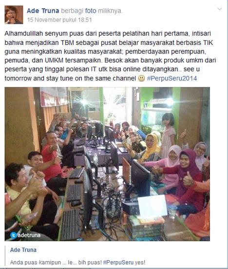 Acungan jempol peserta Pelatihan Internet dan Komputer Dasar program PerpuSeru 2014 di TBM Sudut baca Soreang (15-16/11)