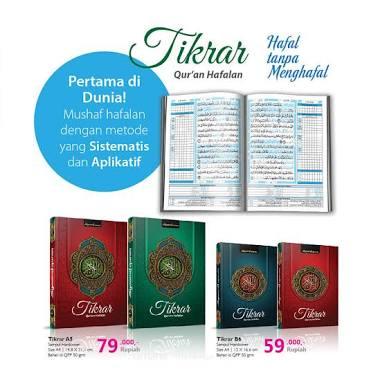 Alquran Tikrar memiliki 2 varian ukuran dan harga: A5 dan B6