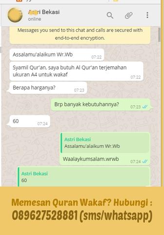 Percakapan Syaamil Quran dengan pemesan Quran Wakaf via Whatsapp