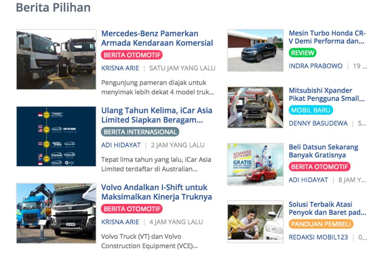 halaman berita otomotif yang ada di mobil123