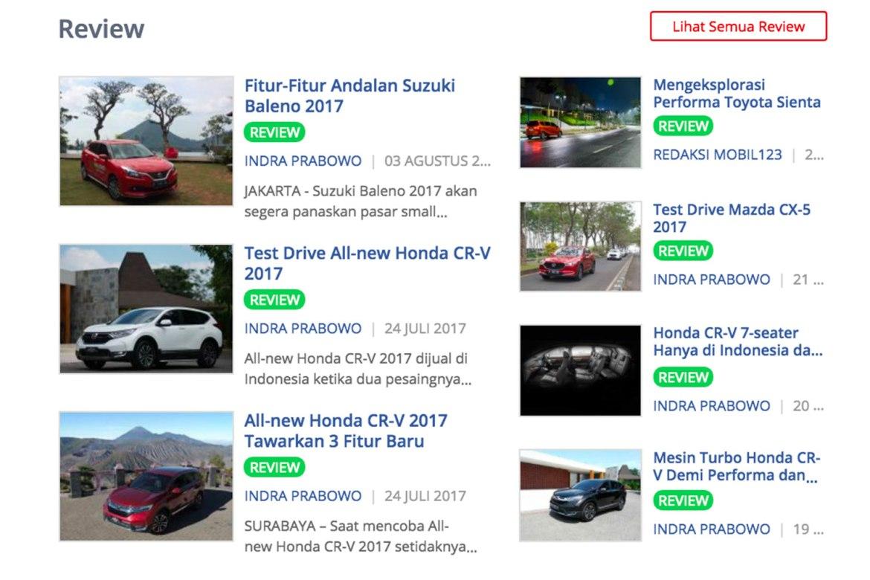 ada halaman review kendaraan juga di mobil123