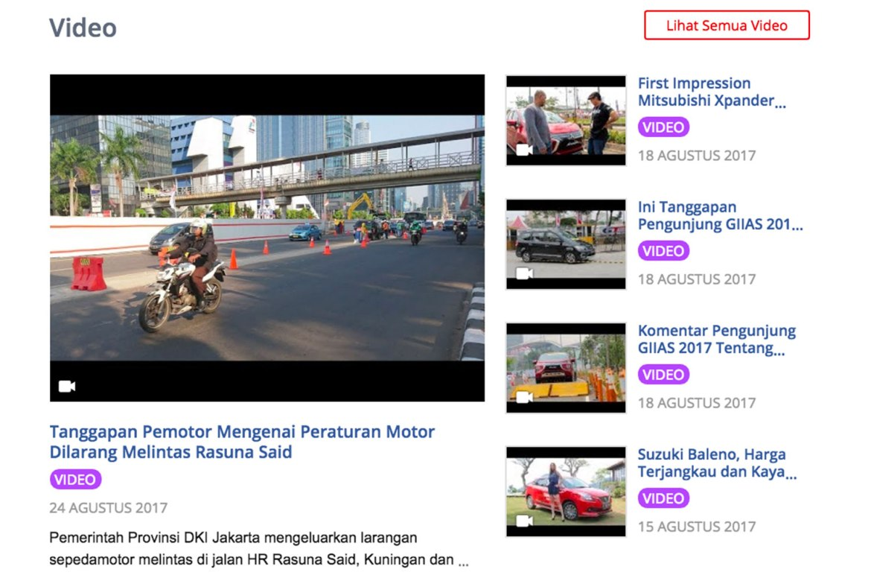 halaman portal otomotif nomor 1 mobil123 yang menyajikan video