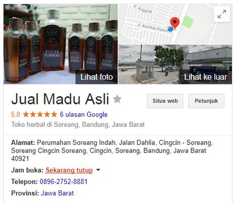 pengoptimalan Jual Madu Asli menggunakan Google My Business
